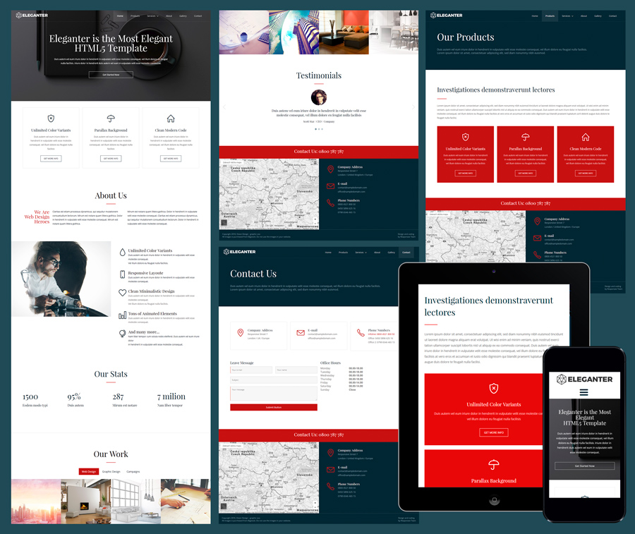 eleganter free elegant business template - Free Responsive Website Templates