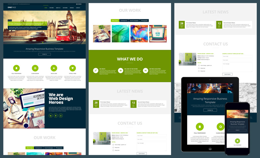 onepage responsive business website template free one page template - Free Responsive Website Templates