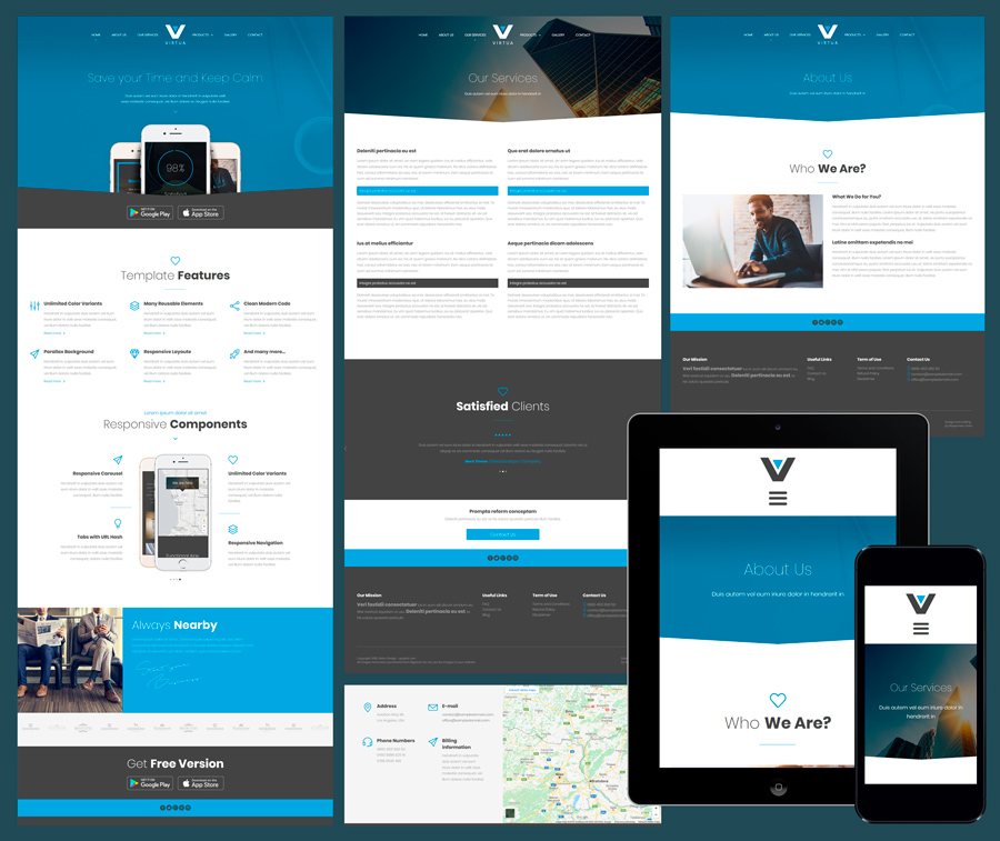 virtua responsive business website template virtua free elegant business template - Free Responsive Website Templates